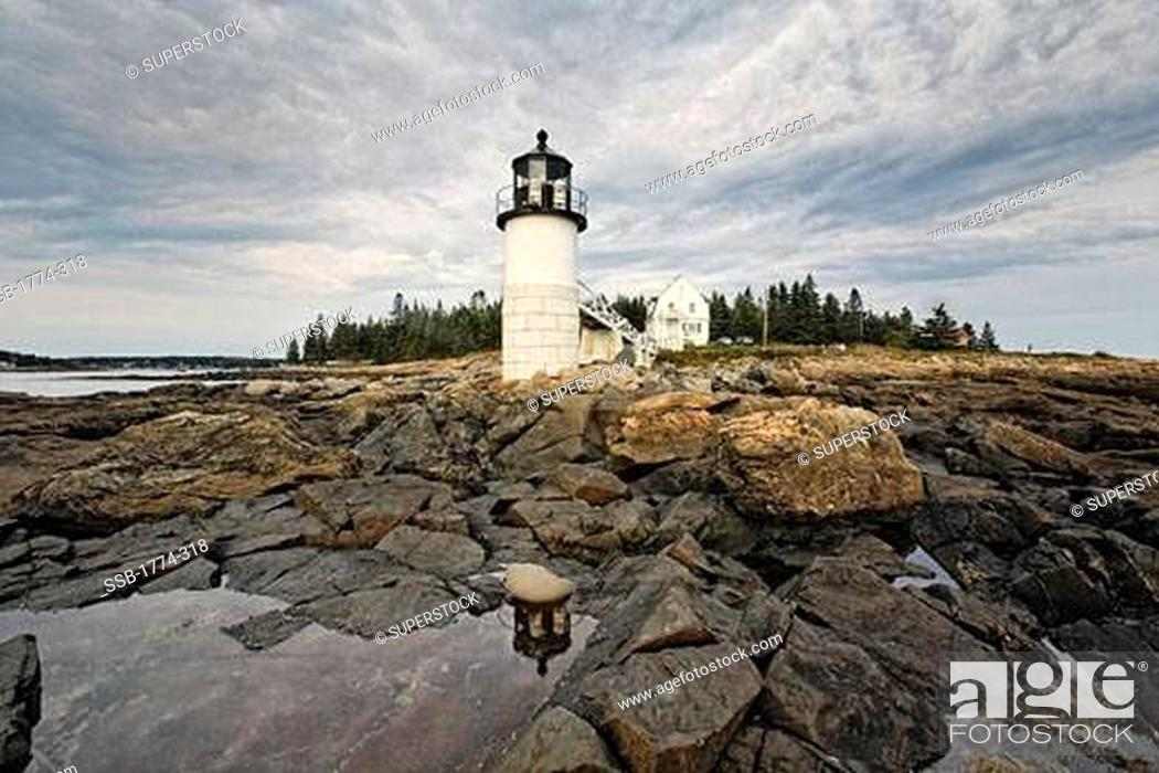 Stock Photo: Low Angle, View of the Marshall Point Lighthouse, Maine, USA.