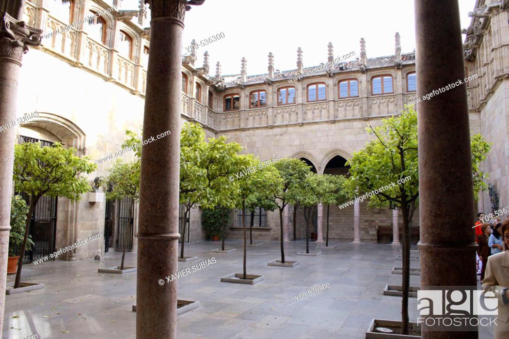 Stock Photo: 'Pati dels Tarongers'. Gothic courtyard. Palau de la Generalitat. Plaça de Sant Jaume. Barcelona. Spain.