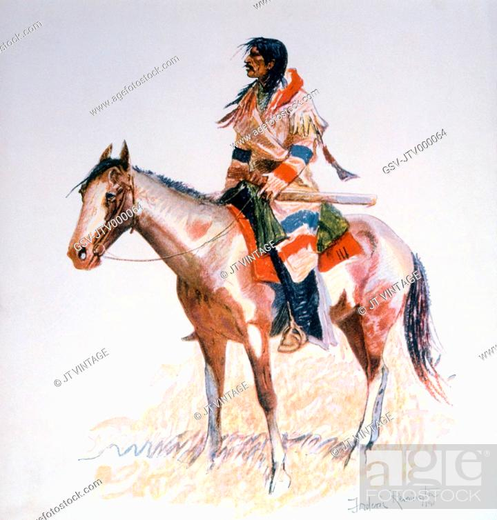 Stock Photo: Indian Scout on Horseback, A Bunch of Buckskins, Painting by Frederic Remington, Circa 1901.