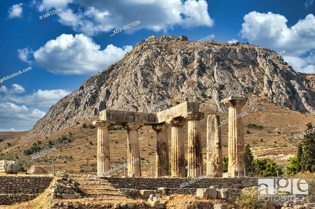 Stock Photo: Temple of Apollo, ancient Corinthe, Peleponesis, Greece.
