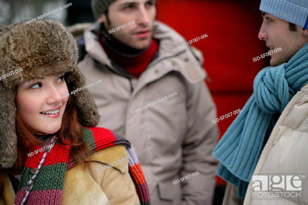 Stock Photo: Friends in winter clothes.