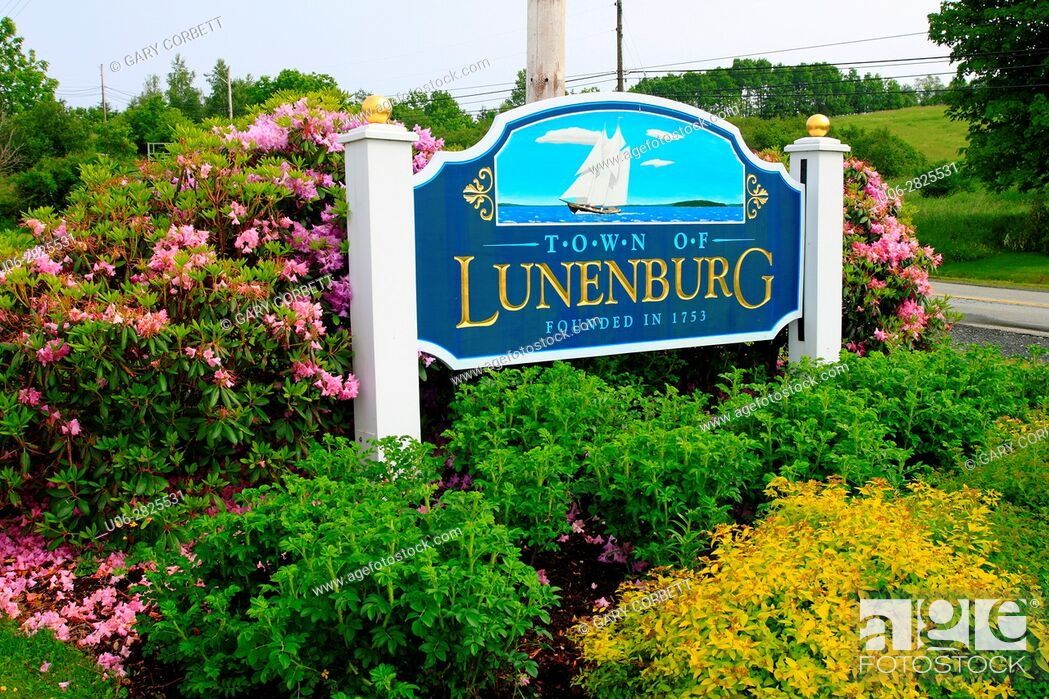 Stock Photo: lunenburg sign, N. S. Canada.