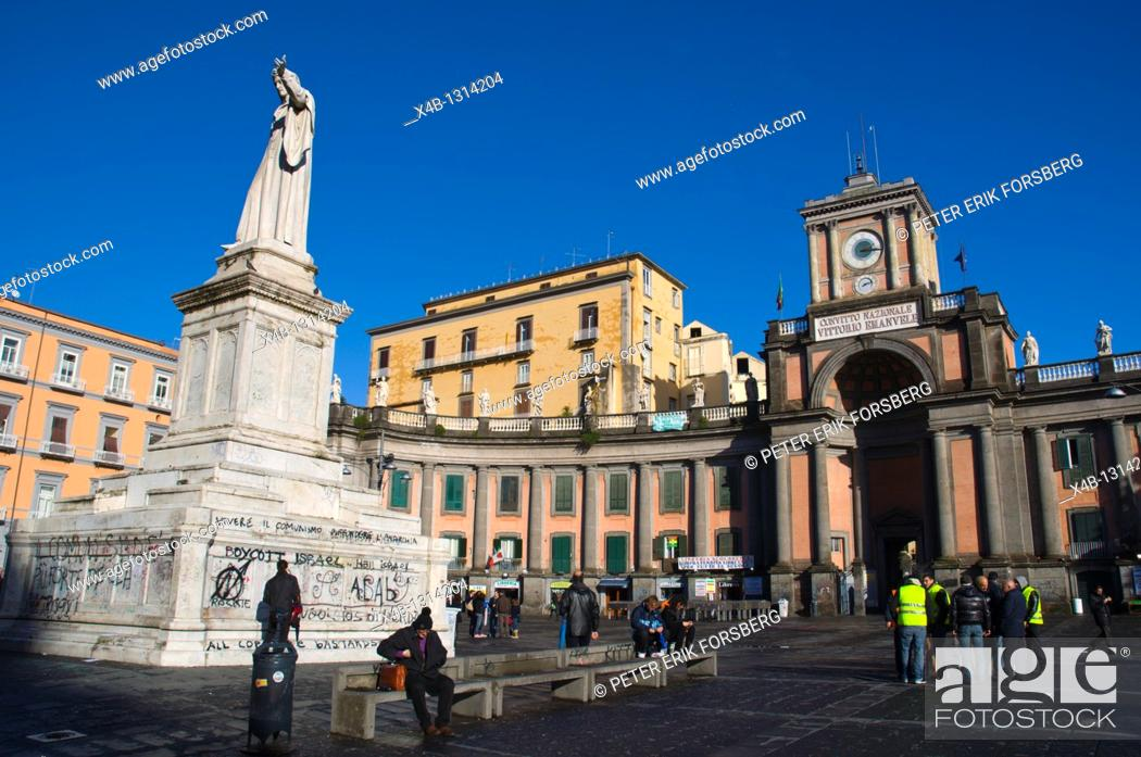 Stock Photo: Piazza Dante square with statue of poet Dante central Naples Campania Italy Europe.