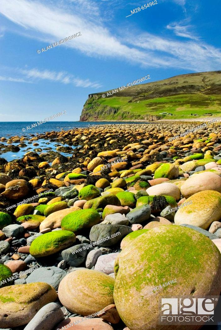 Stock Photo: Giant rounded cobblestones lining the beach at Rackwick Isle of Hoy, Orkney Islands Scotland.