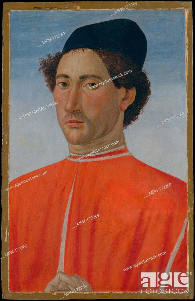 Stock Photo: Portrait of a Man. Artist: Cosimo Rosselli (Italian, Florence 1440-1507 Florence); Date: ca. 1481-82; Medium: Tempera on wood; Dimensions: 20 3/8 x 13 in.