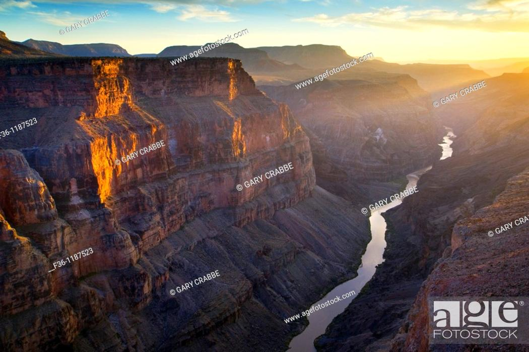 Stock Photo: Steep rugged cliffs above the Colorado River at sunset, Toroweap, Grand Canyon National Park, Arizona.