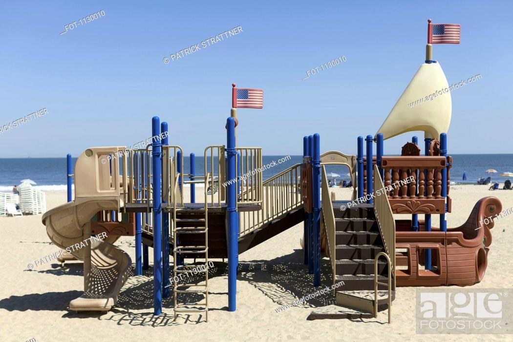 Stock Photo: A playground made to look like a ship on Virginia Beach, Virginia, USA.