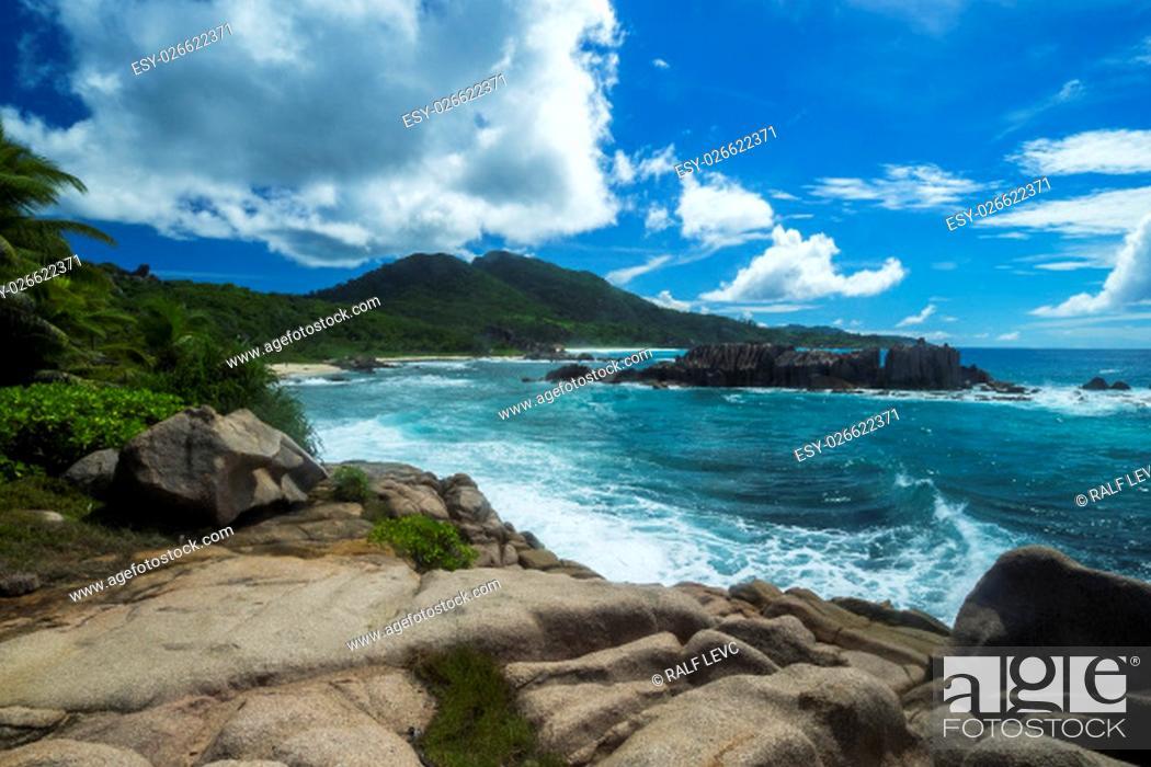 Stock Photo: seychelles - la digue at the grand l'anse.