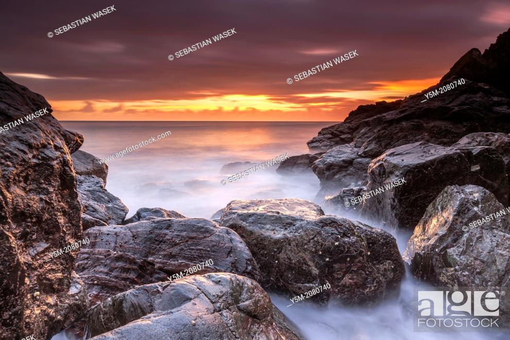 Stock Photo: Sunrise over Little Cove, Cadgwith, Cornwall, England, United Kingdom, Europe.