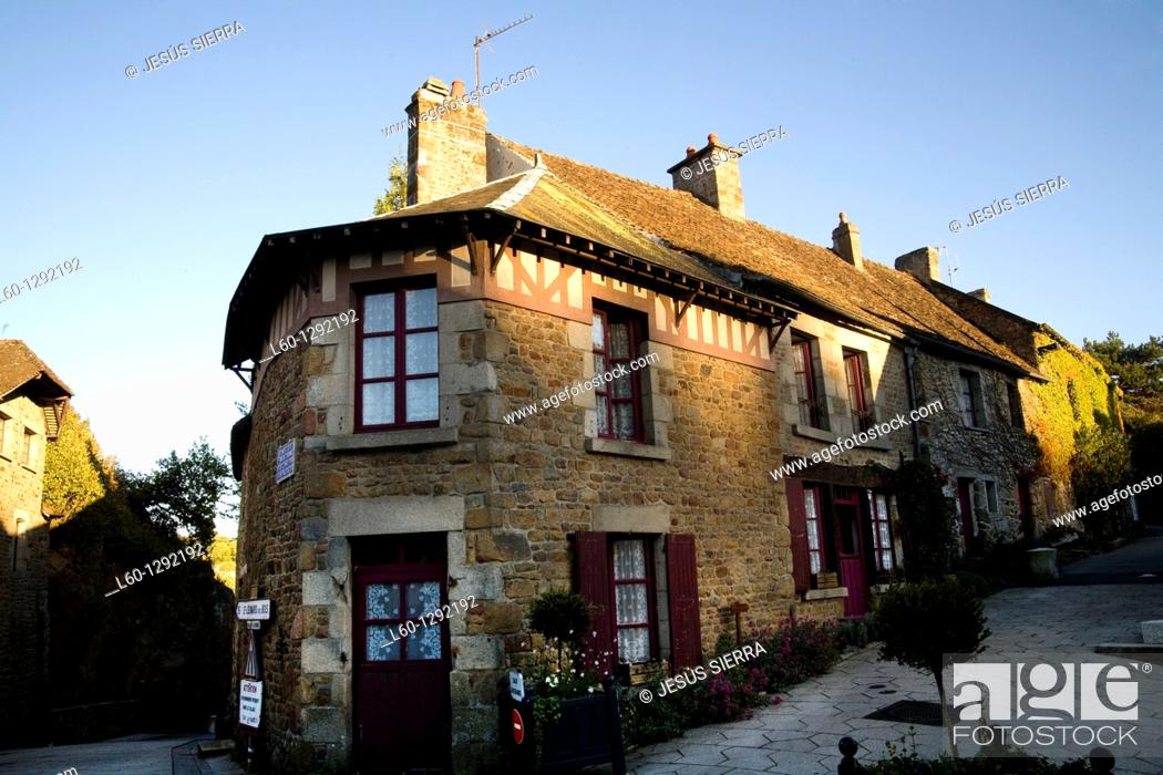 Stock Photo: Medieval town Saint-Céneri-le-Gérei, Normandy, France.