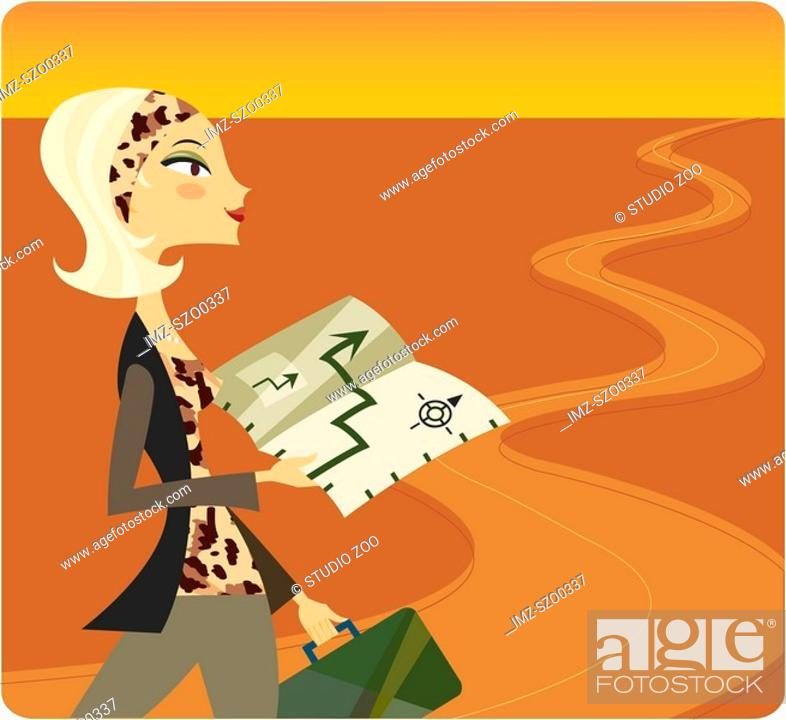 Stock Photo: Woman travelling down a long road and using a map.