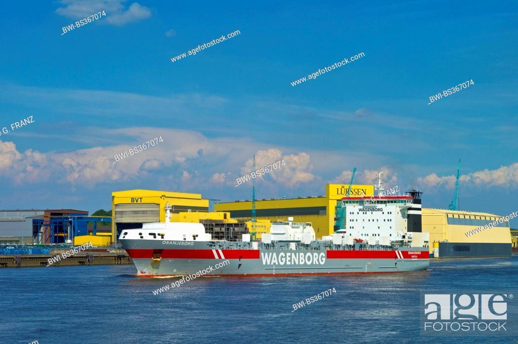RoRo vessel 'Oranjeborg' in front of Luerssen shipyard, Germany