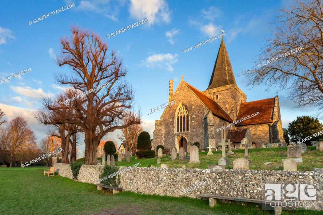 Stock Photo: Sunset at St Andrew's church in Alfriston, East Sussex, England, United Kingdom.
