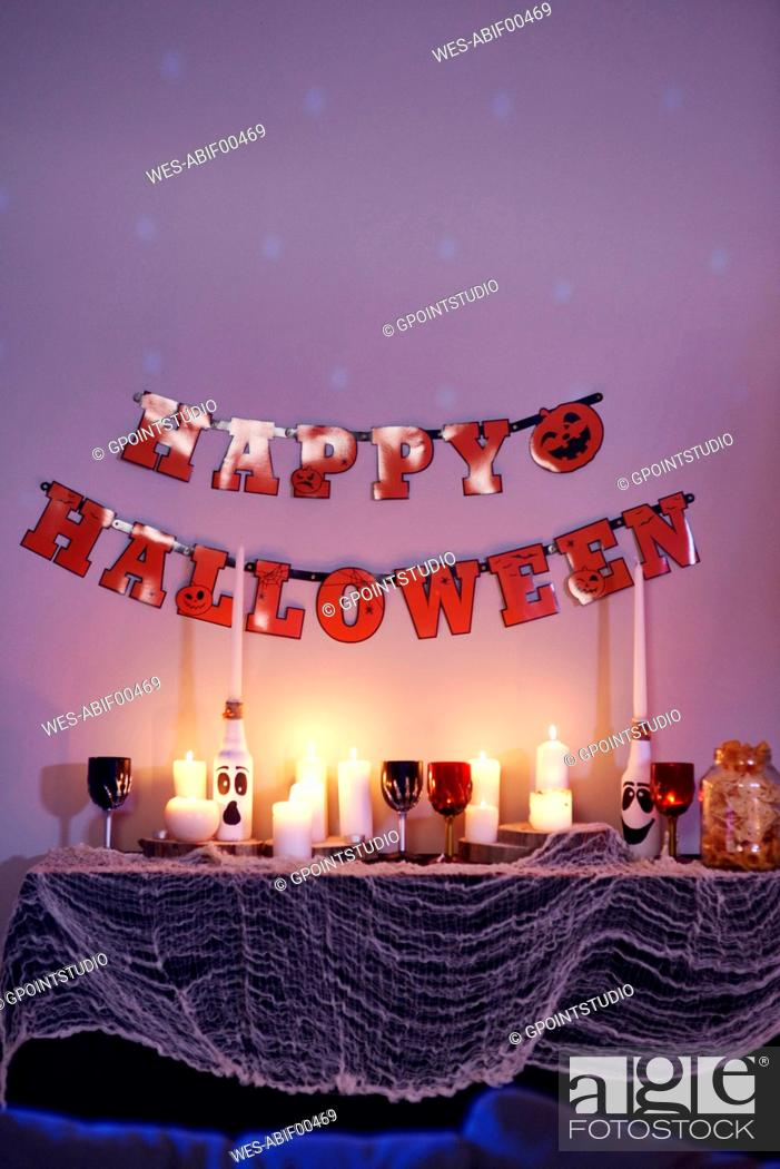 Stock Photo: House interior, decorated for Halloween party.