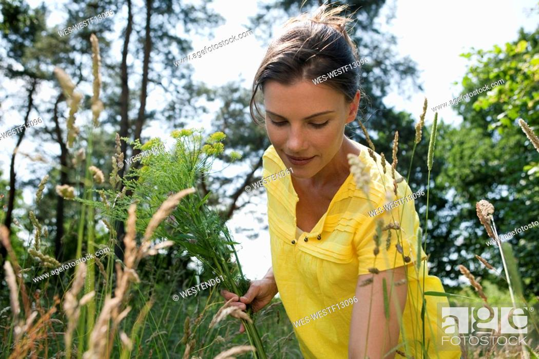 Stock Photo: Germany, Hamburg, Woman in garden.