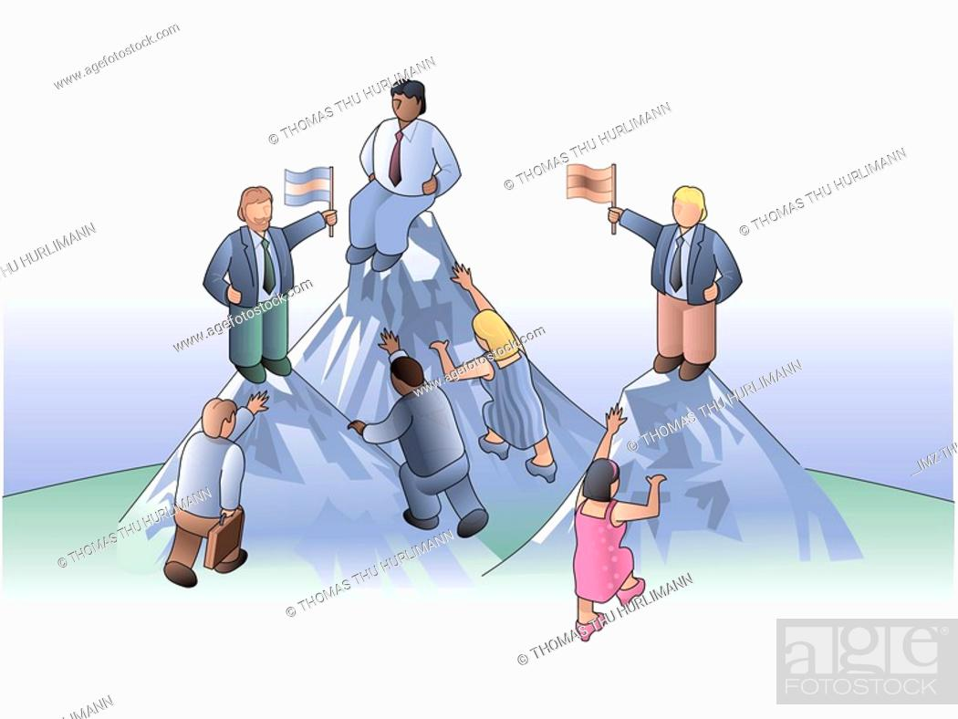 Stock Photo: climbing to the top of the mountain.