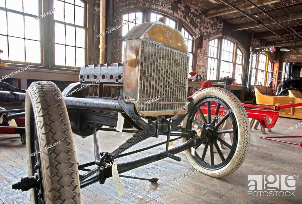 Stock Photo: Detroit, Michigan - The Ford Piquette Avenue Plant, where the first Ford Model T was built in 1908  The building is now a museum called the Model T Automotive.