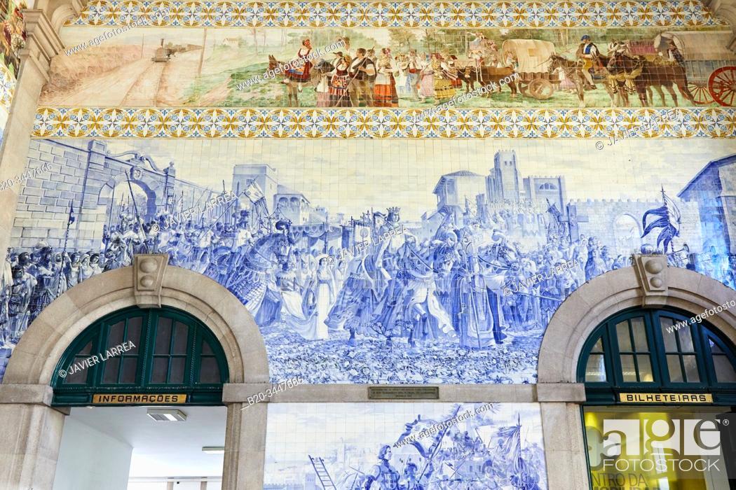 "Stock Photo: ""D. Joao I entered Porto to celebrate his wedding with D. Filipa de Lencastre (14th Century)', Sao Bento railway station, station hall with Azulejo tiles, Porto."