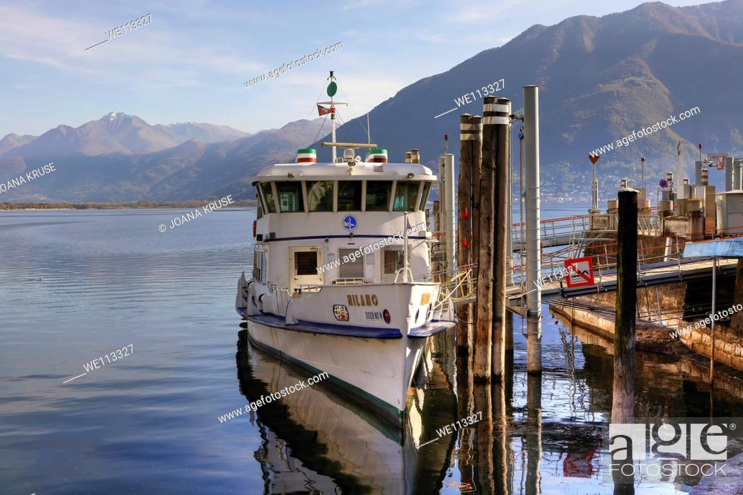 Stock Photo: Line ship at the port of Locarno, Ticino, Switzerland.