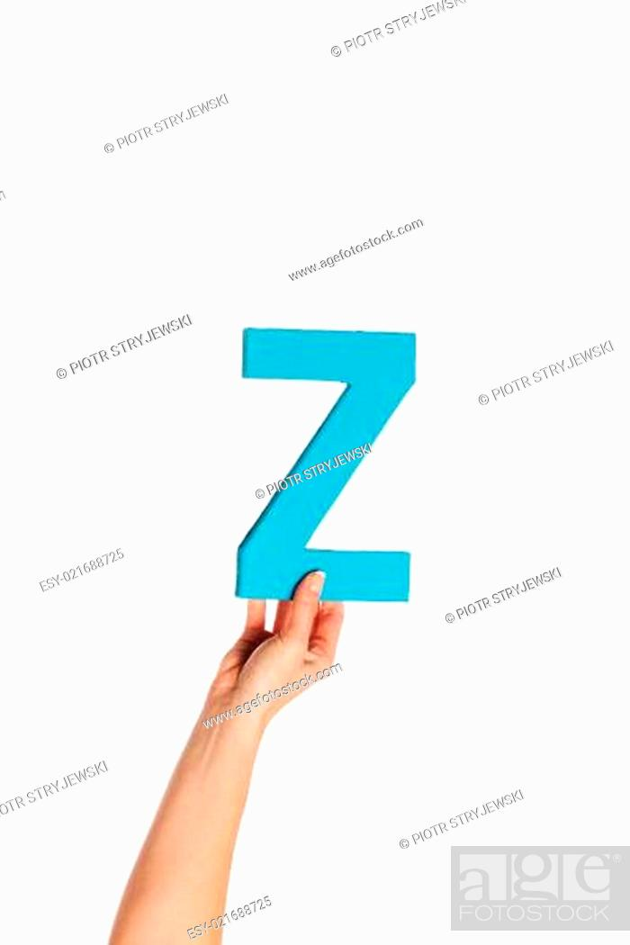 Stock Photo: hand holding up the letter Z from the bottom.