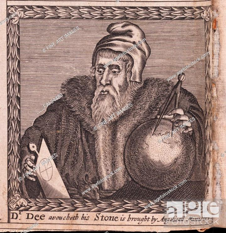 Stock Photo: John Dee (From: The order of the Inspirati). Anonymous . Copper engraving. Baroque. 1659. Private Collection. Portrait. Graphic arts.