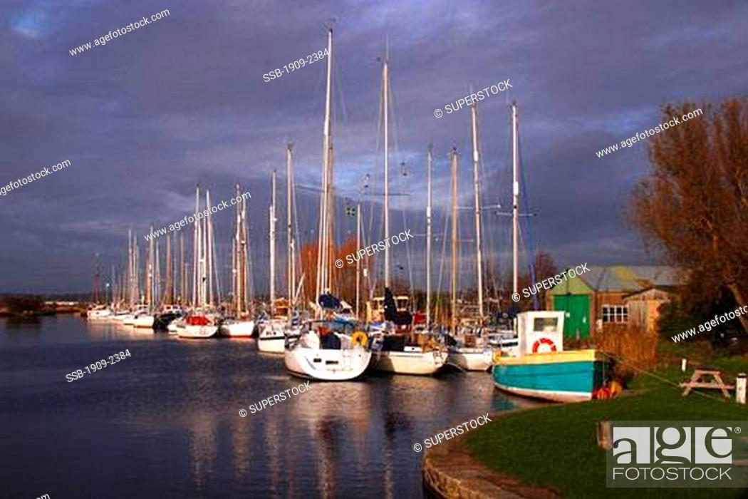 Exeter Canal near Turf Locks with sailing boats and