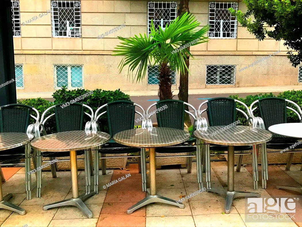Stock Photo: Empty terrace. Juan Bravo street, Madrid, Spain.
