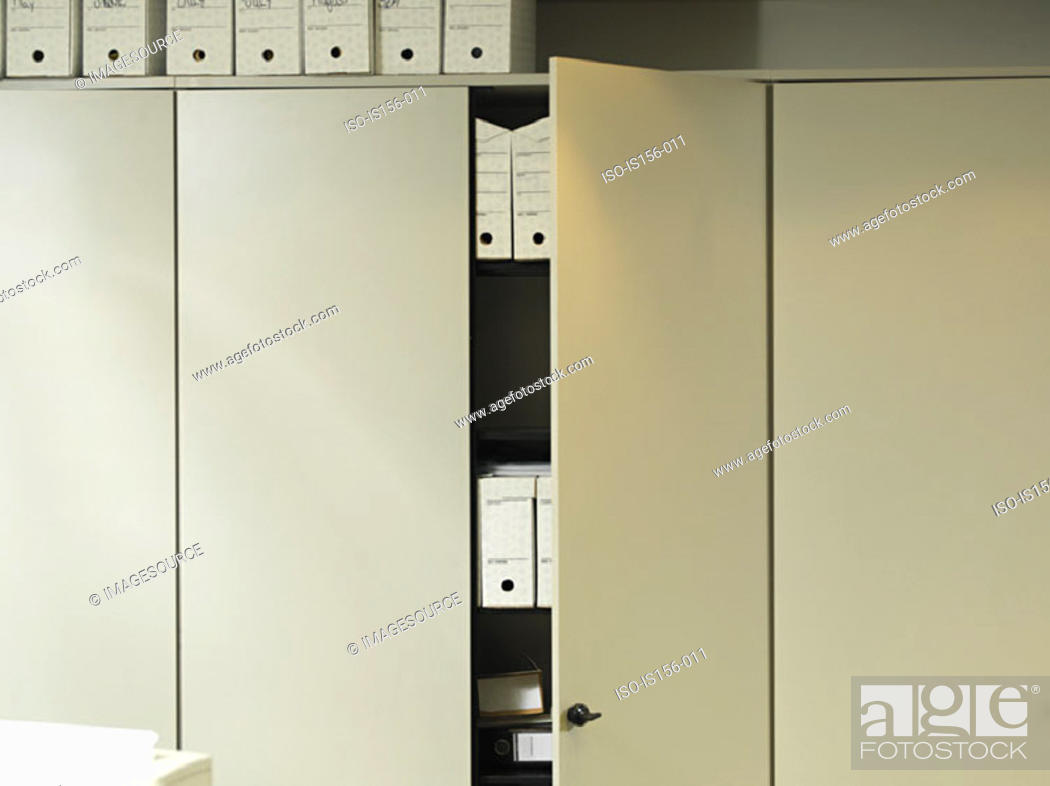 Stock Photo: An open office cupboard.
