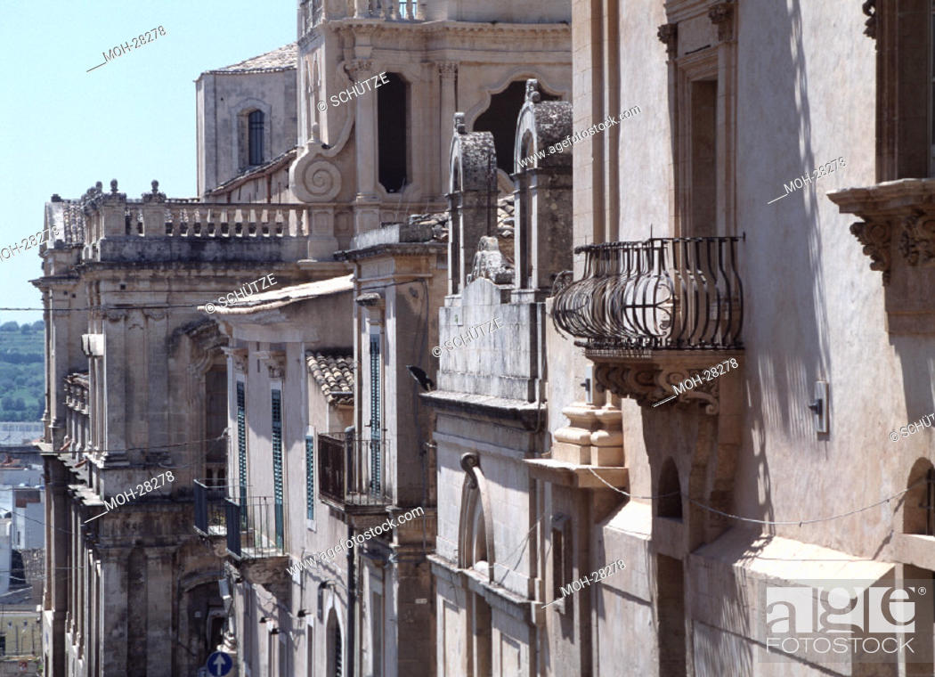 Noto Barockfassaden Balkon Detail Stock Photo Picture And Rights