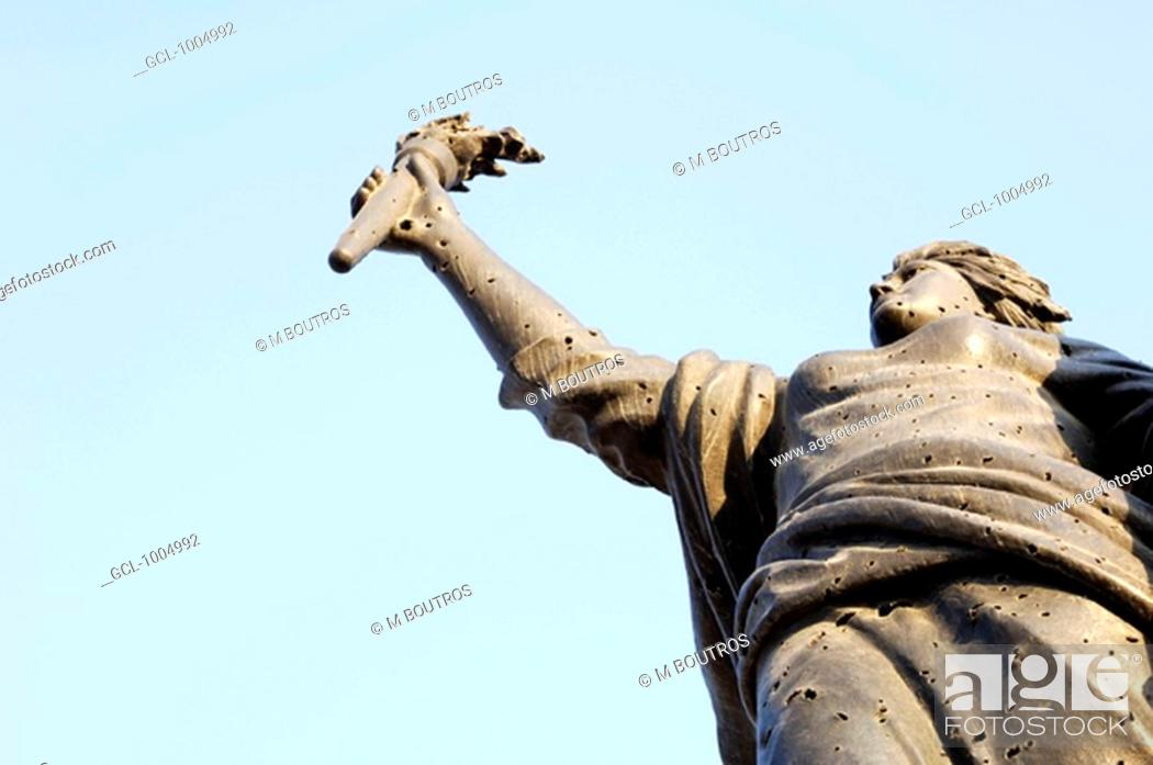 Stock Photo: Shot holes at Martyrs statue in Beirut, Lebanon.