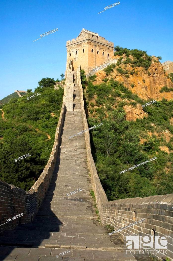 Stock Photo: Great wall near Jing Hang Ling, classified Unesco, Beijing, China.
