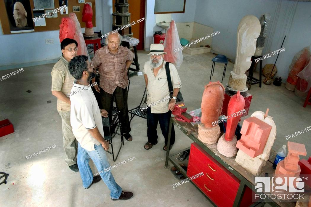 Stock Photo: Himmat Shah , Legendry Artist painter , sculptor , creative person , works in bronze and clay in his studio , Jaipur , Rajasthan , India Editorial use only.
