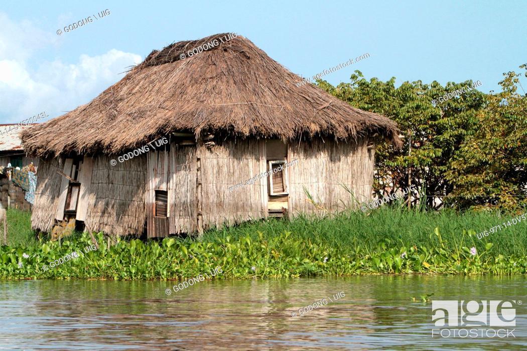 Stock Photo   Bamboo House On Stilts, Lakeside Town, Lake Nokoue, Ganvie