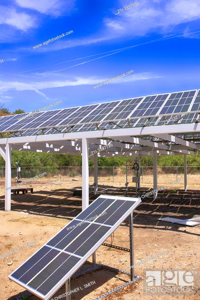 Stock Photo: Solar research of Photovoltaic panels at Bisosphere 2, the American Earth system science research facility located in Oracle, AZ.