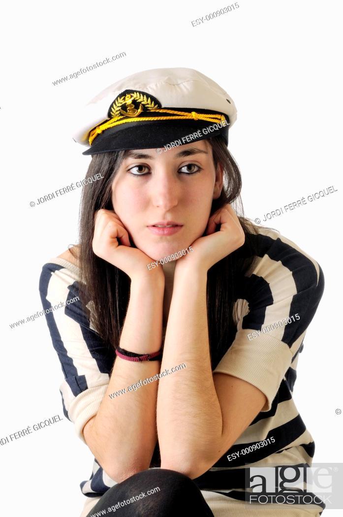 Stock Photo: Girl in sailor dress on white background.