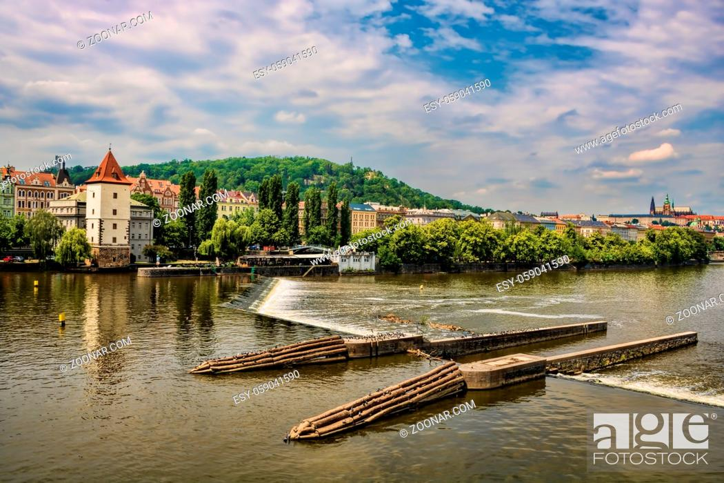 Stock Photo: Old Town, Water, Vacation, Walking, Beauty, Picture, House, River, Europe, Silhouette, City, Tower, Old, Skyline, Cityscape, Cathedral, Landmark, Large, Panorama, Idyllic, Czech, Prague, Capital, Rapids, Cascade, Postcard, Picturesque, Riverbank, Dom, Alte