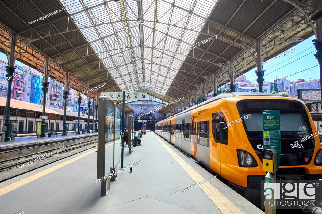 Stock Photo: Passenger train, Sao Bento railway station, Porto, Portugal.