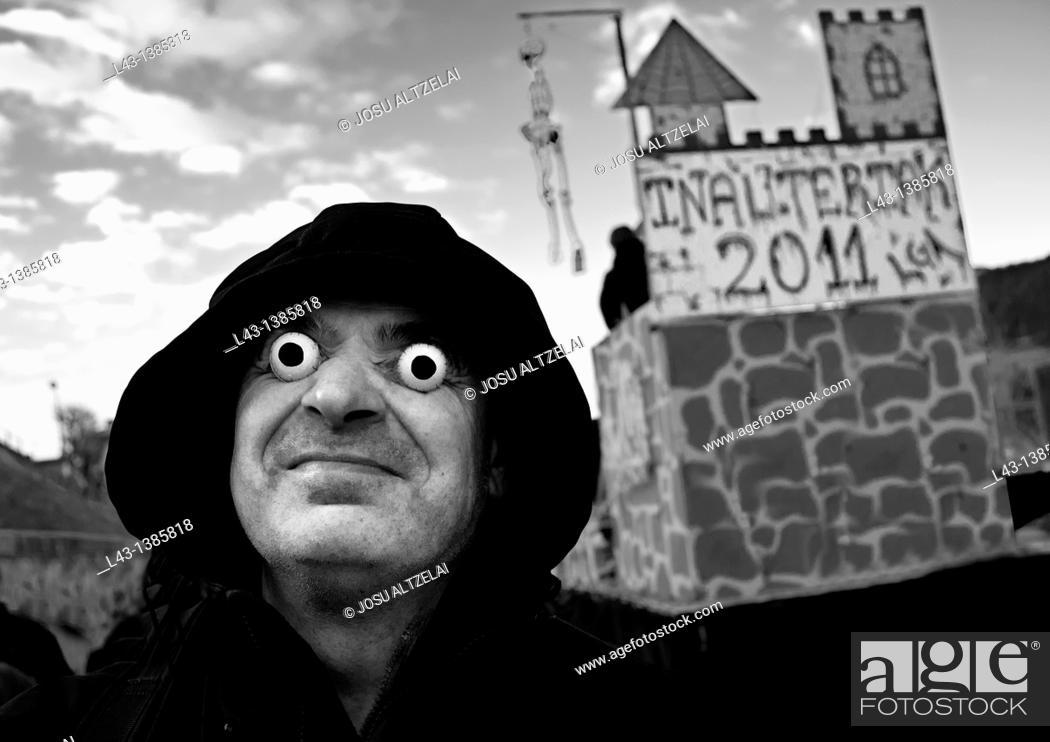 Stock Photo: Carnival in legazpi village, guipuzcoa, basque country, euskadi.