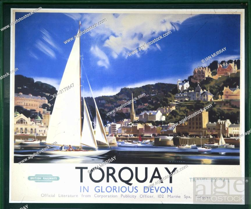 Speaking, torquay railway vintage poster phrase