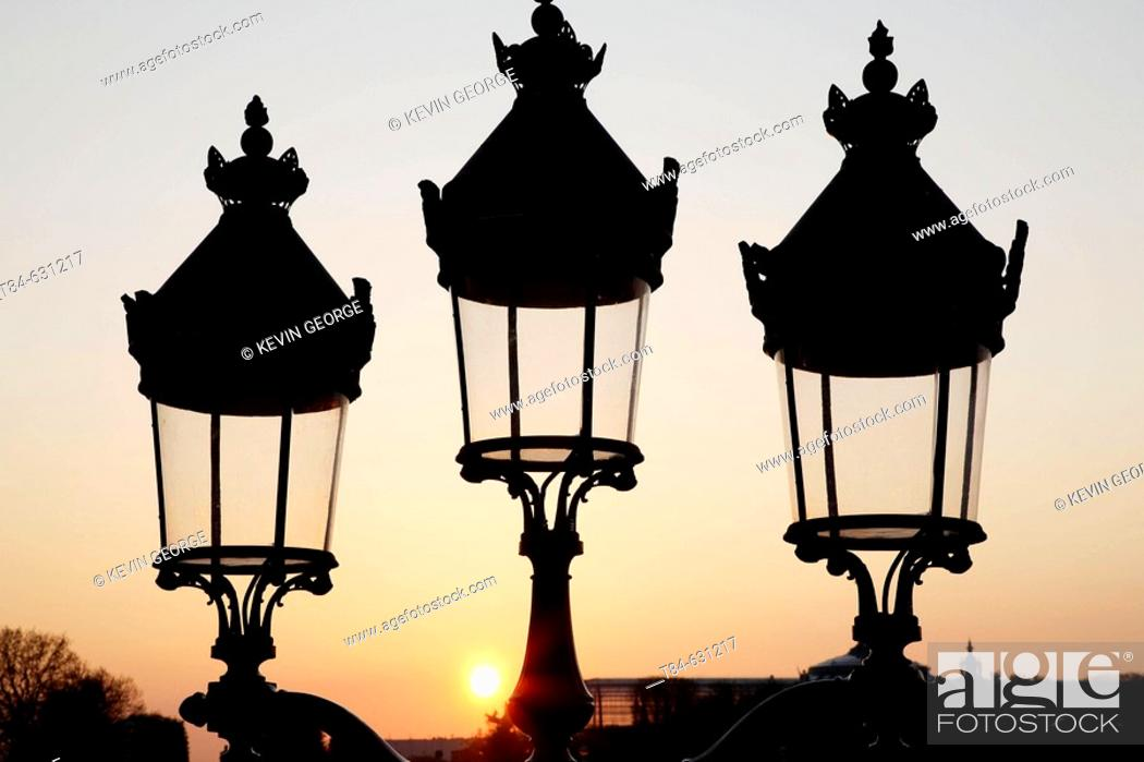 Stock Photo: Lampposts, Paris, France.