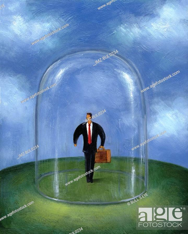 Stock Photo: Businessman standing within a glass dome.