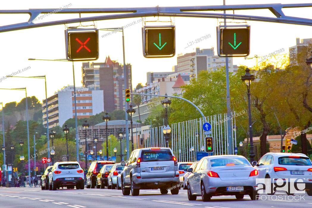 Stock Photo: Traffic at dusk. Avinguda Diagonal, Barcelona, Catalonia, Spain.