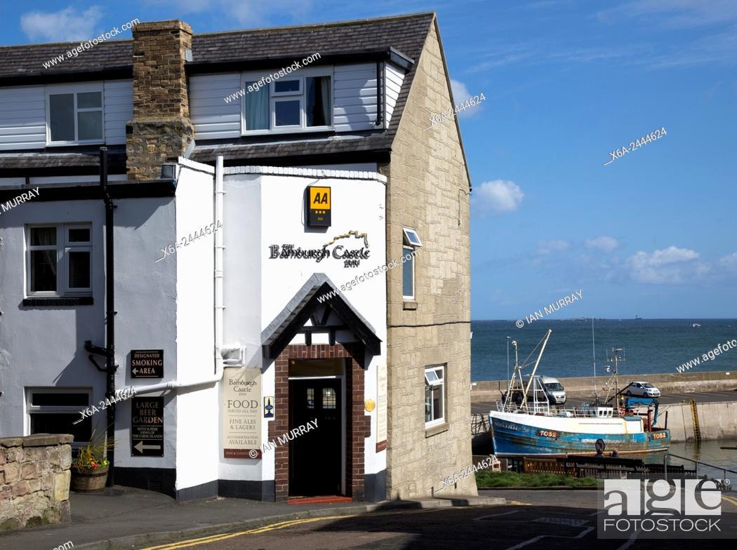 Stock Photo Bamburgh Castle Inn Hotel Seahouses Northumberland England