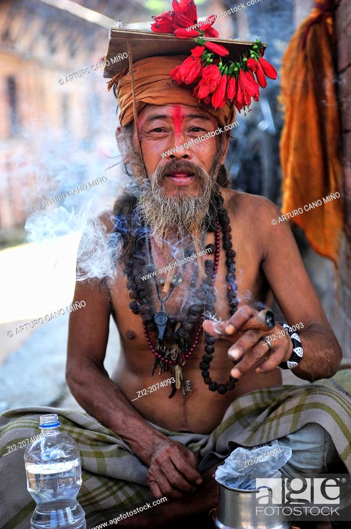 Stock Photo: Sadu, Hindu ascetic, Durbar Square, Bhaktapur, Nepal.