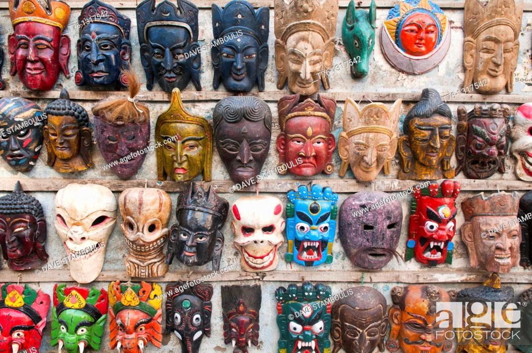 Stock Photo: souvenir masks for sale in Durbar Square in Kathmandu, Nepal.