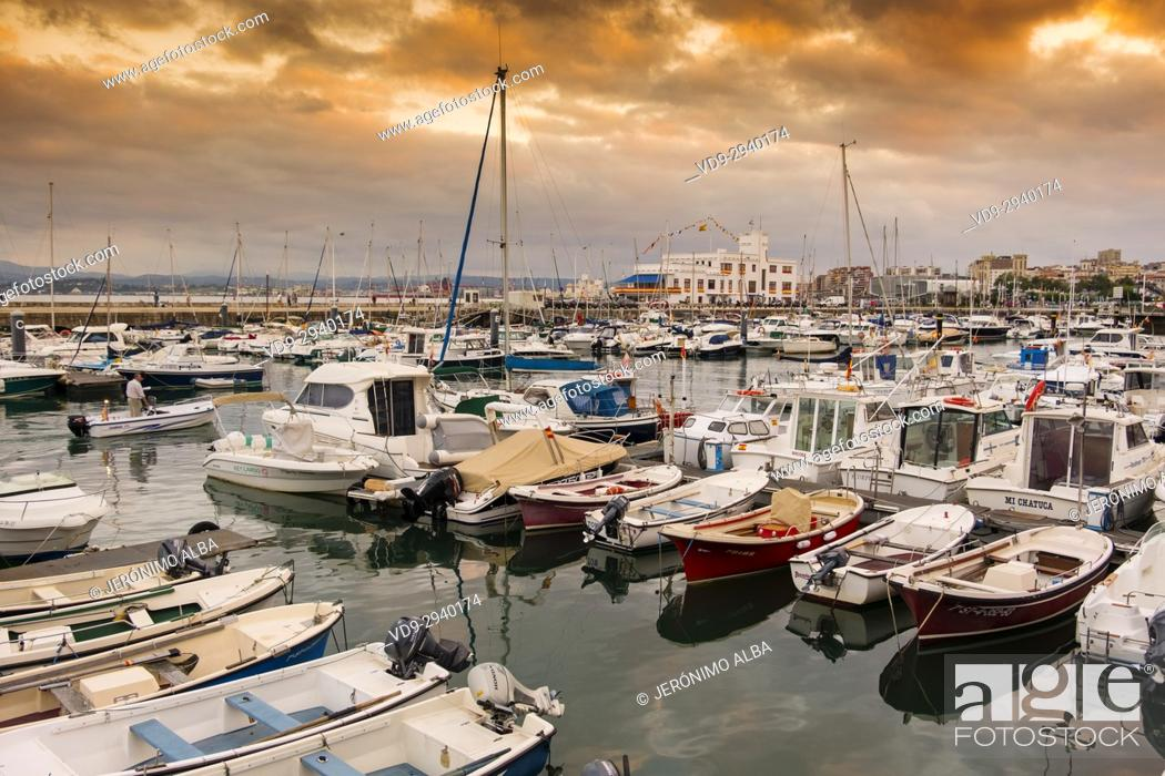 Stock Photo: Puerto Chico marina port at sunset. Santander, Cantabrian Sea, Cantabria, Spain, Europe.