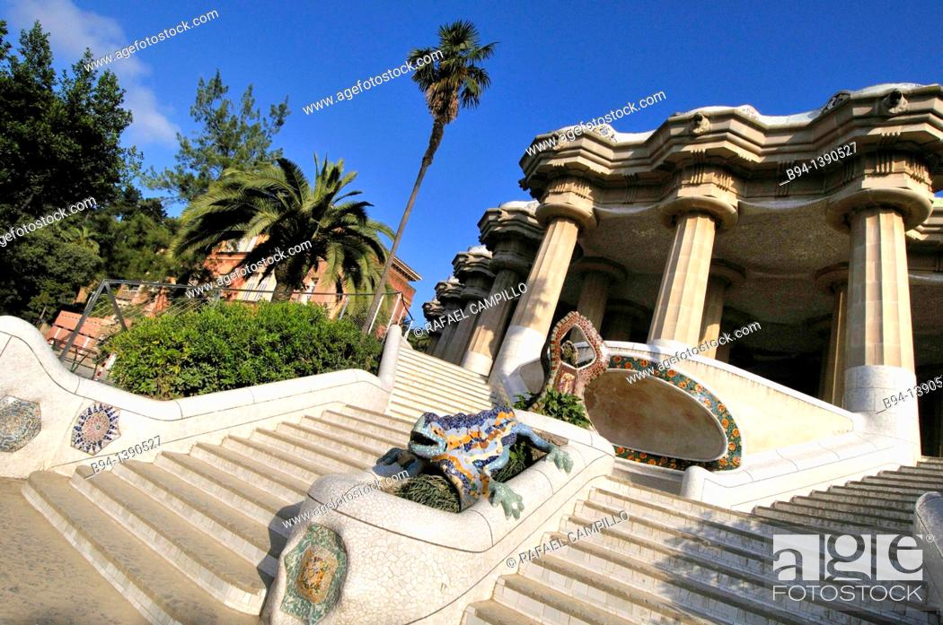 Stock Photo: Park Güell, garden complex with architectural elements situated on the hill of El Carmel, designed by the Catalan architect Antoni Gaudí and built in the years.