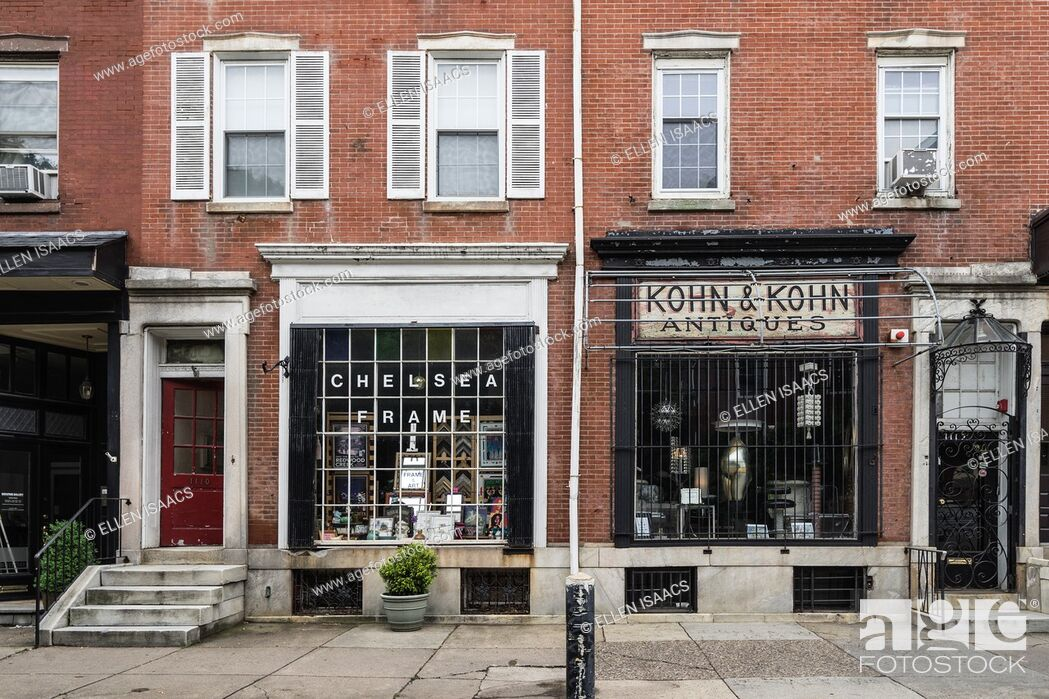 Stock Photo: Two old-fashioned brick and mortar stores along Antique Row on Pine Street in Philadelphia.