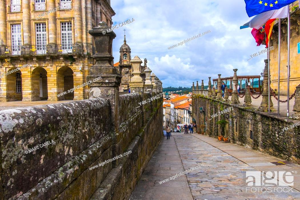 Stock Photo: Rua das Hortas, Santiago de Compostela, La Coruña province, Galicia, Spain.