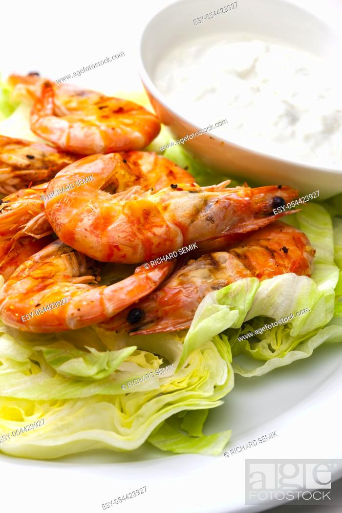 Stock Photo: still lfe of grilled shrimps with garlic dip.